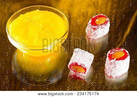 Honey, Rakhat-lukum Sprinkled With Coconut Shavings And Almond On Golden Background, Turkish Sweets