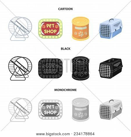 Container For Carrying Animals And Other Attributes Of The Zoo Store. Pet Shop Set Collection Icons