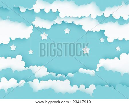Modern Paper Art Clouds With Stars. Cute Cartoon Sky With Fluffy Clouds In Pastel Colors. Cloudy Wea