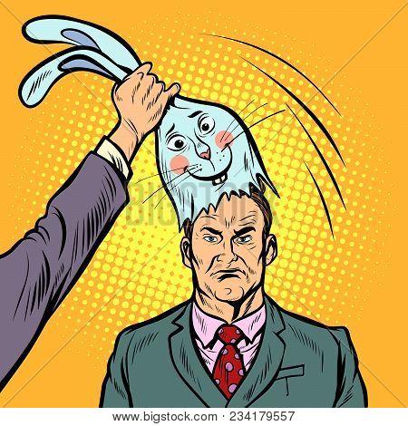 Negative Man Under The Mask Of A Good Bunny. Pop Art Retro Comics Cartoon Vector Illustration Kitsch