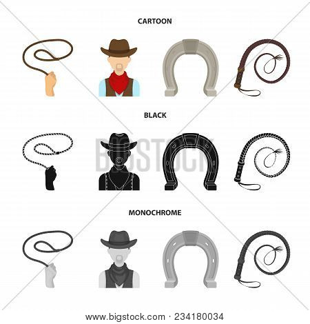 Hand Lasso, Cowboy, Horseshoe, Whip. Rodeo Set Collection Icons In Cartoon, Black, Monochrome Style