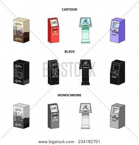 Coffee Machine, Atm, Information Terminal. Terminals Set Collection Icons In Cartoon, Black, Monochr