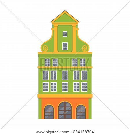 Green European Style Classic Building Facade In Flat Style Isolated On White Background. Baroque Sty