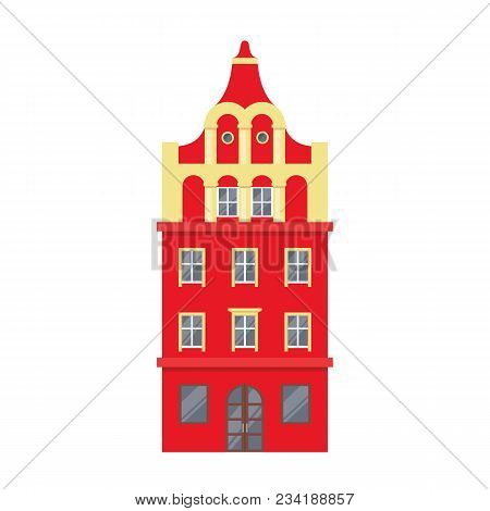 Red European Style Classic Building Facade In Flat Style Isolated On White Background. Baroque Style