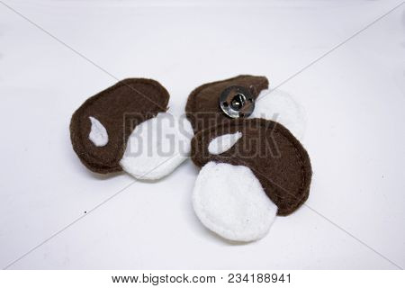 Three Handmade Felt Mushrooms With White Rabbit