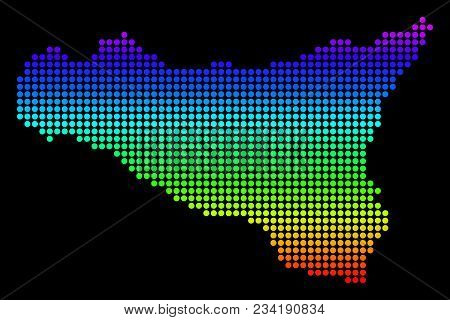 Spectrum Dotted Pixel Sicilia Map. Vector Geographic Map In Bright Colors On A Black Background. Mul