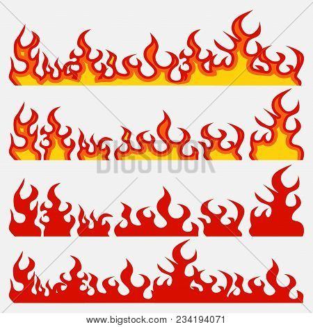 Fire Flame Set, Flame Elements, Burning Infern, Flat Style, Vector Image