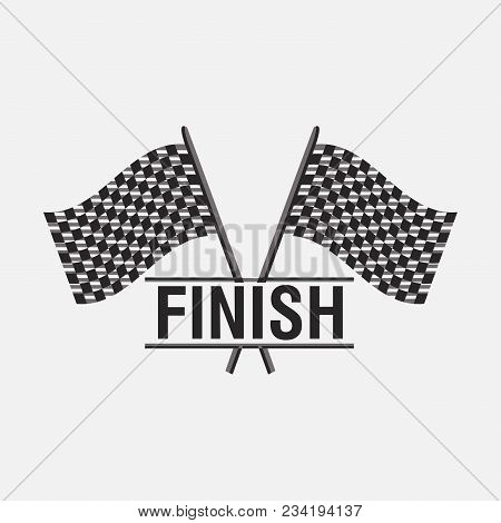 Finish Sign Flags, Victory Icon, Car Speed, Racing Victory, Auto Illustration, Vector Illustration