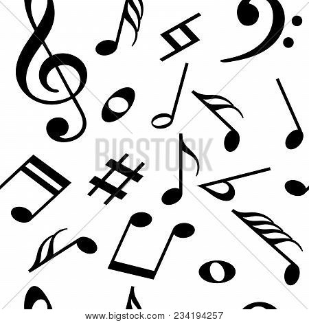 Seamless Pattern With Music Notes. Vector Illustration