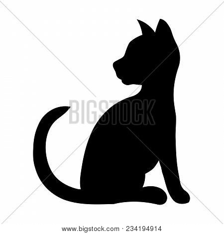 Black Silhouette Of A Sitting Cat. Vector Illustration