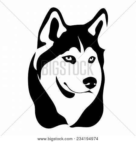 Portrait Of A Dog Of The Siberian Husky Breed. Vector Illustration