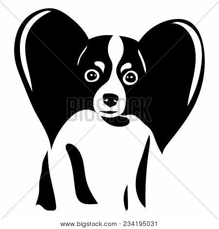 Portrait Of A Dog Of The Papillon Breed. Vector Illustration