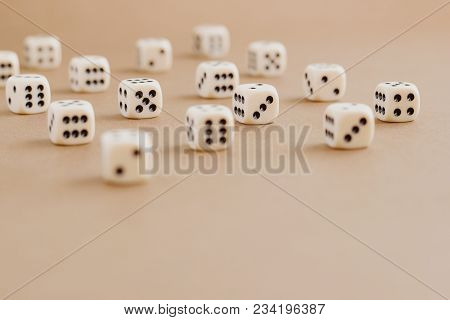 Set Of Gaming Dice With Copy Space On Brown Background. Concept For Games, Game Board, Role Playing