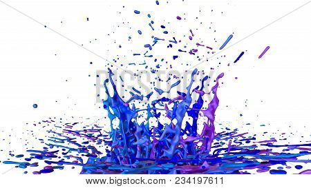 Paints Dance On White Background. Simulation Of 3d Splashes Of Ink On A Musical Speaker That Play Mu