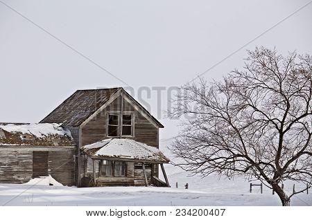 Abandoned Country Farm Winter Prairie Saskatchewan Canada