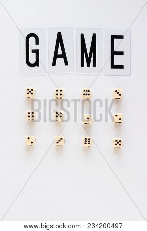 Game Word And Gaming Dice In Row On White Background. Concept For Banners, Web Pages, Games, Game Bo