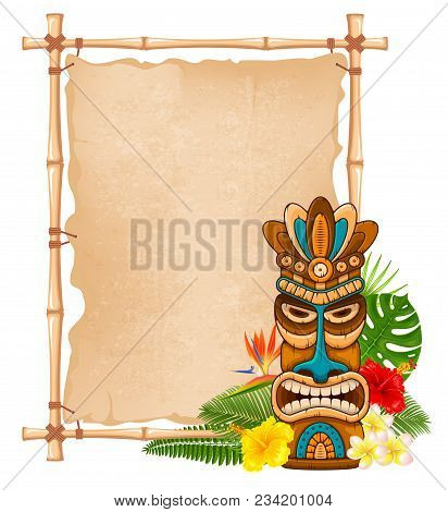 Tiki Tribal Wooden Mask, Tropical Exotic Plants And Bamboo Signboard. Hawaiian Traditional Elements.