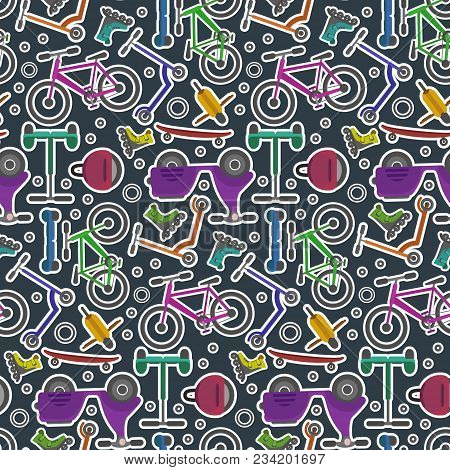 Bright Colorful Youth City Transport In Sticker Style Seamless Pattern. Contrast Cute Urban Ecologic