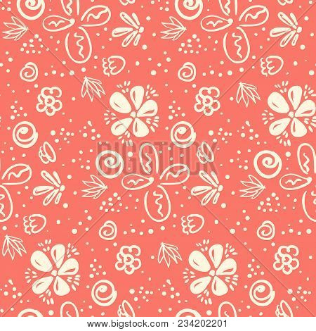 Tender Peach Color Doodle Floral Seamless Pattern. Lovely Naive Texture With Outline Flowers, Leaves