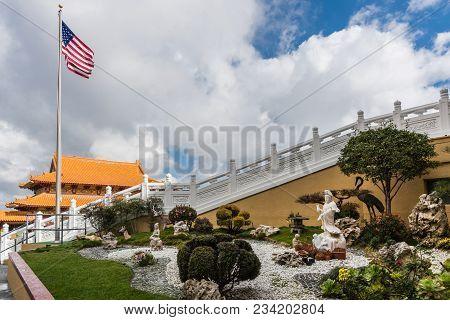 Hacienda Heights, Ca, Usa - March 23, 2018:  Avalokitesvara, Guanyin, Garden With Statues At Hsi Lai