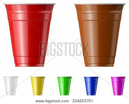 Plastic Cup Set Isolated On White Background