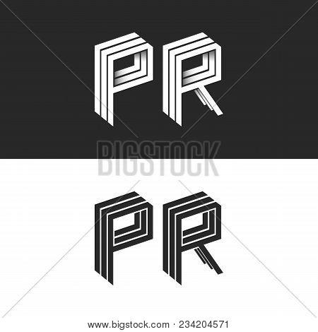 Letters P And R Logo Set Isometric Emblem Symbol Mockup, Letters Isometric Monogram 3d Geometric Sha