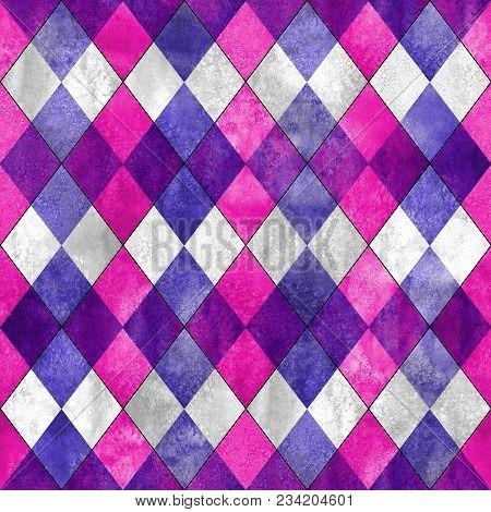 Argyle Seamless Plaid Pattern. Watercolor Hand Drawn Purple Gray Magenta Pink Texture Background. Wa