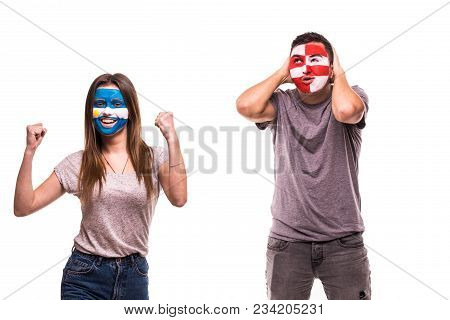 Happy Football Fan Of Argentina Celebrate Win Over Upset Football Fan Of Croatia With Painted Face I