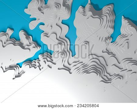 3D Topographic Map Of The Sea Coast. 3D Rendering. Bay, Sea, Mountains, Valleys. Topography And Cart