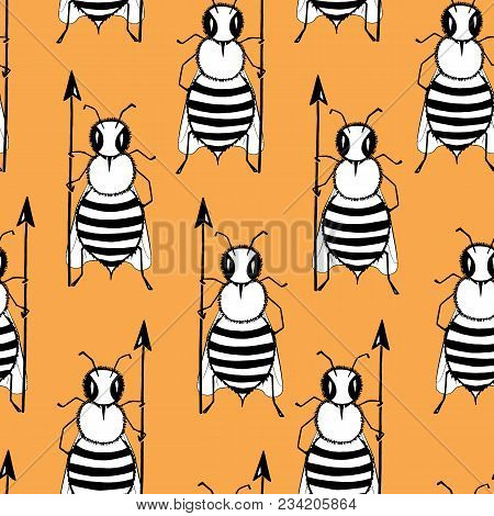 Seamless Pattern With Angry Killer Bees On The Orange Background. Soldier Bee With Pike. Killer Bees