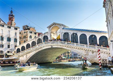 Venice, Italy - September 23, 2017 Colorful Rialto Bridge Public Boat Gondola Touirists Grand Canal