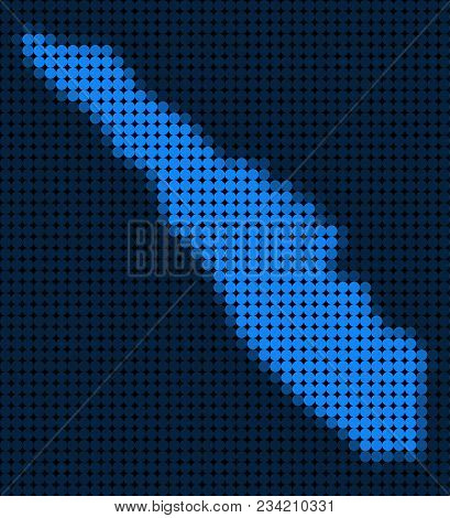 Dotted Pixelated Sumatra Island Map. Vector Geographic Map In Blue Colors. Vector Pattern Of Sumatra
