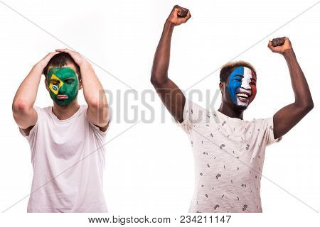Happy Football Fan Of France Celebrate Win Over Upset Football Fan Of Brazil National Teams With Pai