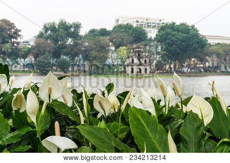 Hoan Kiem Lake With A Turtle Tower In The Middle Of The Lake In Hanoi, Vietnam