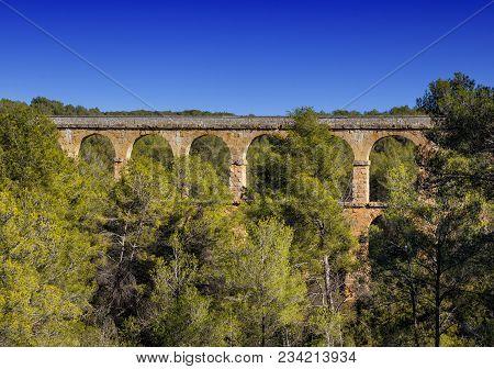 Les Ferreres Aqueduct, Also Known As Pont Del Diable. A Part Of The Roman Aqueduct Built To Supply W