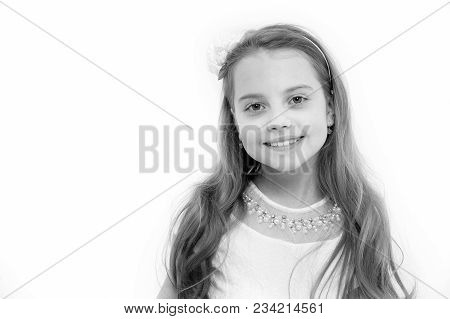 Girl With Smile On Cute Face Isolated On White. Innocence, Purity Concept. Childhood, Preschool, You