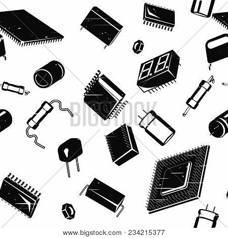 Stylized Seamless In All Directions Illustration Of Electronic Components And Circuitry In Retro Sty