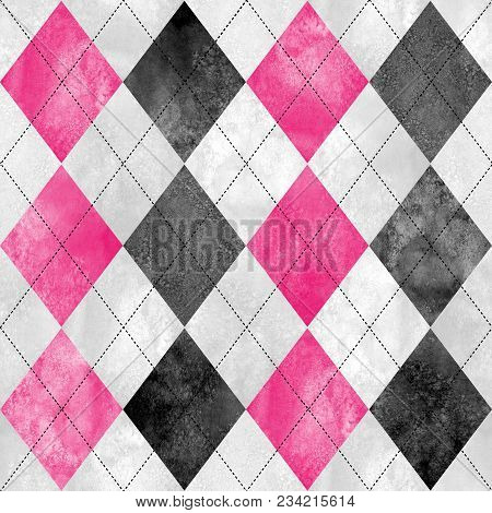 Argyle Seamless Plaid Pattern. Watercolor Hand Drawn Black Gray White Pink Texture Background. Water