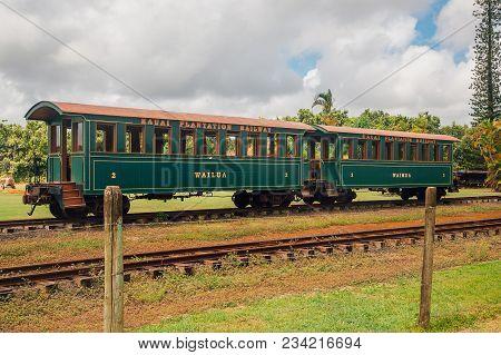 Kauai, Usa. April 20, 2017 Hawaii Island Wailua Train Wagon