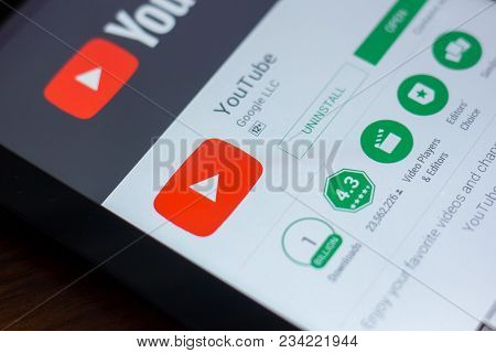 Ryazan, Russia - March 21, 2018 - Youtube App On A Display Of Tablet Pc.