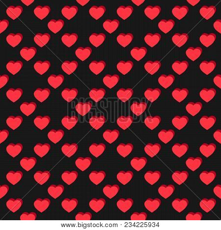 Vector Flat Hearts Seamless Pattern. Valentines Day Background. Red And Black Colors. Sexy Love Roma