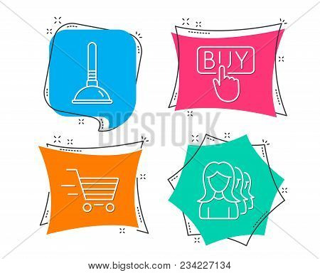 Set Of Delivery Shopping, Buying And Plunger Icons. Women Headhunting Sign. Online Buying, E-commerc