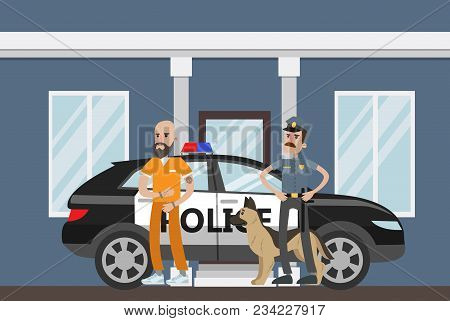 Police Station Outdoor With Cop And Prisoner.