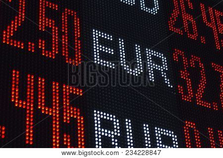 Exchange Rates For Usd Euro Currencies Blurred.
