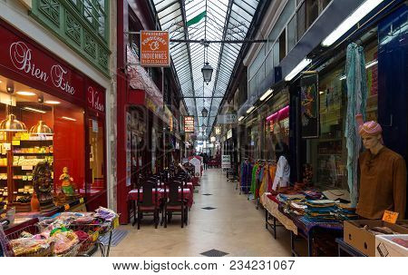 Paris, France-march 24 , 2018 : Passage Brady Is Iron-and-glass Covered Arcades Located In The 10th