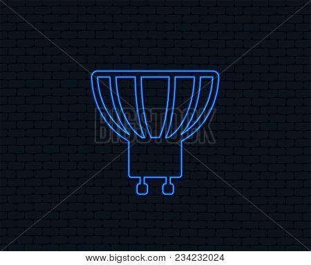 Neon Light. Light Bulb Icon. Lamp Gu10 Socket Symbol. Led Or Halogen Light Sign. Glowing Graphic Des