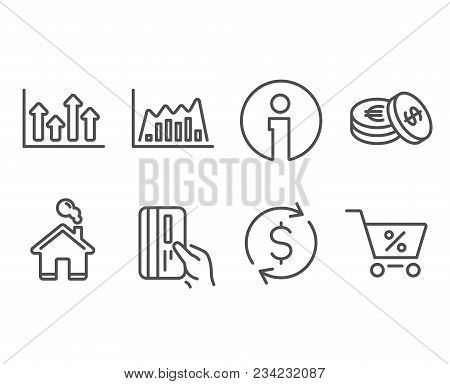 Set Of Dollar Exchange, Payment Card And Upper Arrows Icons. Infographic Graph, Savings And Special