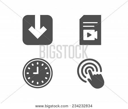 Set Of Clock, Load Document And Video File Icons. Click Sign. Time Or Watch, Download Arrowhead, Vlo