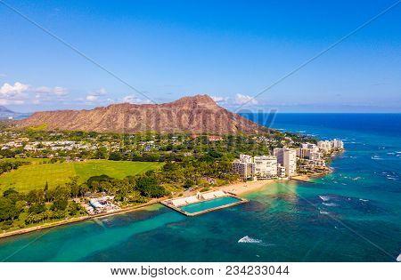 Honolulu, Hawaii. Aerial Skyline View Of Honolulu, Diamond Head Volcano Including The Hotels And Bui