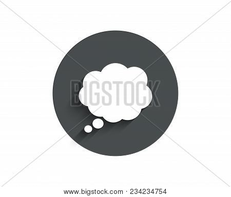 Comic Speech Bubble Simple Icon. Chat Sign. Communication Or Comment Symbol. Circle Flat Button With